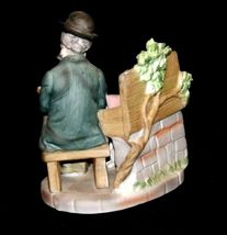 Figurine Man Reading a book as Dog Watches 2432 AA19-1538 Vintage image 4