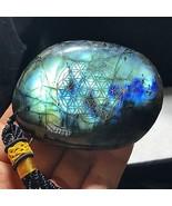 Blue Flash Labradorite Palm Stone Flower of Life Natural Polished 124g H... - $19.75