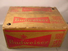 30 of 35 Empty Budweiser 7 oz bottles in Cardboard Case Circa 1970s - $49.99