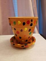 """Finger Rainbow"" Hand-painted 4in Terracotta plant/flower pot - $10.00"