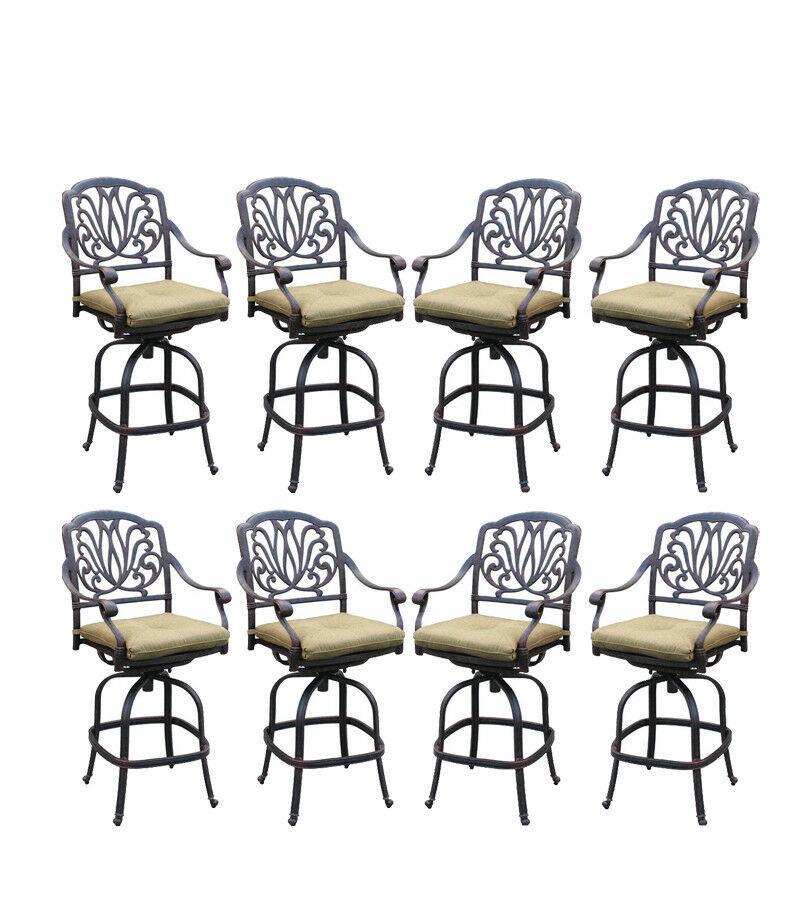 Outdoo bar stools set of 8 Elisabeth cast aluminum patio Desert Bronze