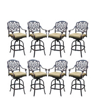 Outdoo bar stools set of 8 Elisabeth cast aluminum patio Desert Bronze image 1