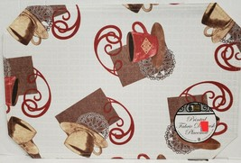 """SET OF 4 SAME LINEN FABRIC PRINTED PLACEMATS 12"""" x 18"""", COFFEE CUPS by BH - $16.82"""