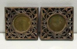 Pair Candle Holder Plate Carved Wood Decorative Ornate  - $18.67