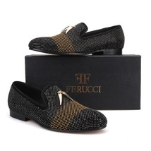 FERUCCI Black Slippers Loafers Flat With Crystal GZ Rhinestone and Shark Tooth - $179.99