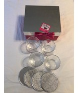 ULTA BEAUTY HOLIDAY PARTY GLASSES & SILVER COASTERS GIFT SET OF 4 NEW WI... - $14.99
