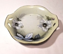 RS Germany Porcelain Tab Handle Bowl Hand Painted White Flowers Gold Rim - $16.95