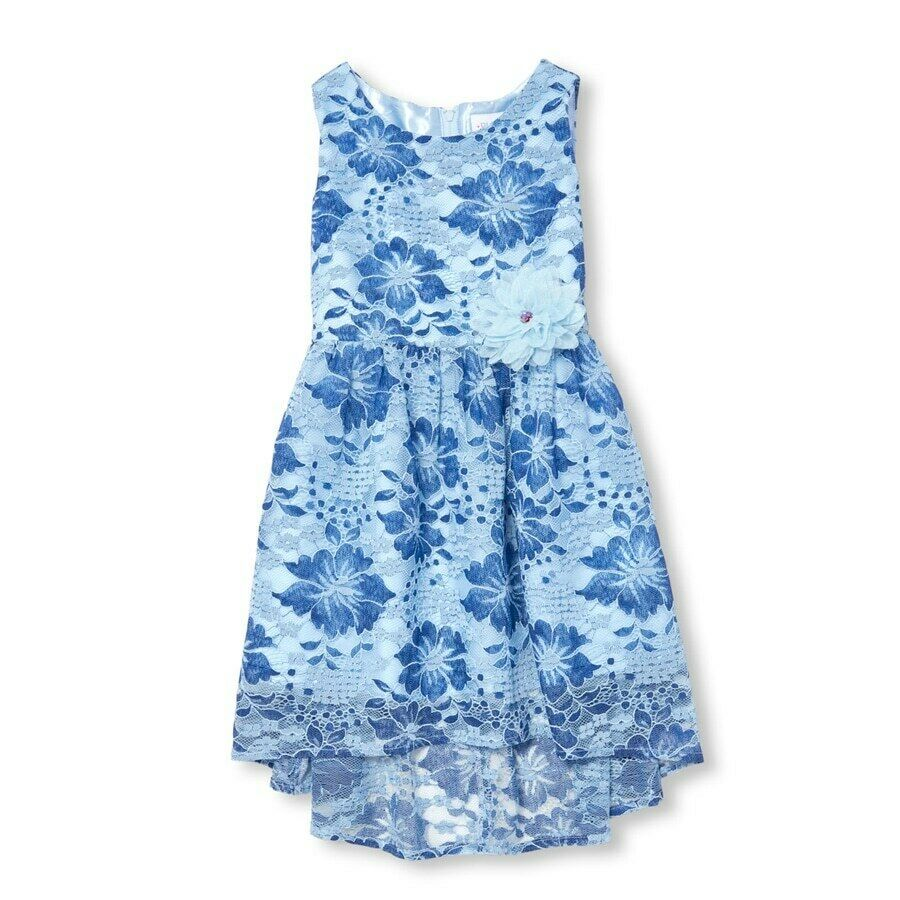 Primary image for NWT The Childrens Place Girls Sleeveless Blue Floral Lace Woven Dress