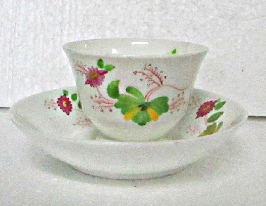Antique Tea Bowl & Cup Saucer Polychrome Decoration Porcelain Number Mark 123