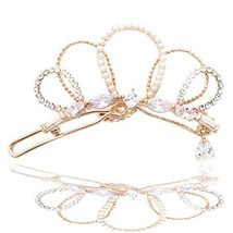 Crown Shaped Pearl Zirconia Hairpin Clip Safety Pin Rose Gold - $22.22