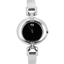 Ladies Movado Stainless Steel Diamond Black Swiss Quartz 27mm Watch 84.A... - $324.95