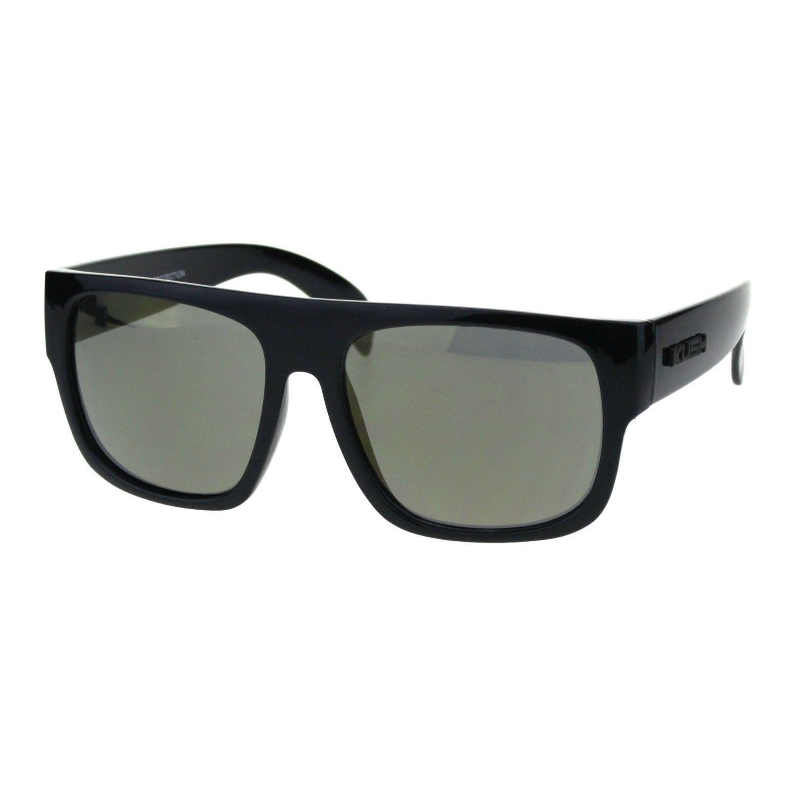 KUSH Sunglasses Mens Mirrored Lens Black Square Frame Shades UV 400