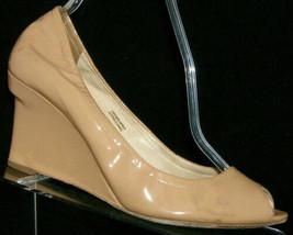 Vera Wang 'Jesse' beige peep toe patent leather slip on wedges 9M EU 40 ... - $4.99