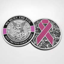 """ST. MICHAEL WHE HUNT THE EVIL POLICE PINK RIBBON 1.75"""" 3D CHALLENGE COIN - $18.04"""