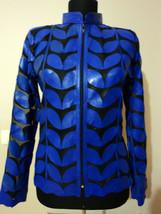 Silver Leather Coat Woman Jacket Leaf Design Zip Light Short Lambskin Collar D1