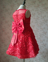 RED Flower Girl Wedding Dress Lace Bead Tea Length Red Wedding Dresses 4-16 image 3