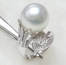 White South Sea Pearl Ring, 12mm, AAA+ Quality, Ovalish shape, 18K ring ... - $1,198.00