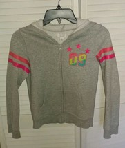 "Childrens Place Girls Hoodie Sweatshirt Sz L 10/12 Pink Stripes & ""09"" logo VGUC - $4.99"