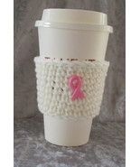 hand Crafted To Go Cup Cozy with Pink Ribbon Button - $4.00