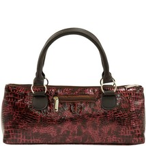 Primeware Clutch Insulated Single Bottle Wine Tote, Burgundy Crocodile Croc - $19.95