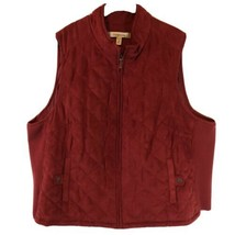 Croft And Barrow Women Red Puffer Vest 3X Full Zip Stretch Sleeveless Fa... - $11.78