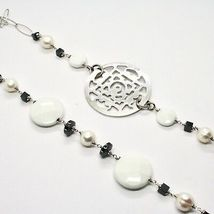 Long Necklace 1 MT Silver 925 with Hematite Agate and Pearls Made in Italy image 5