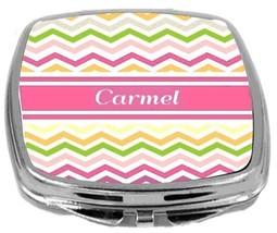Rikki Knight Personalized Name Carmel Compact Mirror Pink Chevron Stripe... - $12.00