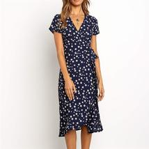 Summer Long Dress 2019 Print Boho Style Wrap Beach Dress Sexy Side Split... - $24.28+
