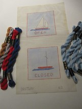 Needlepoint Open & Closed Signs Canvas & DMC 3 Cotton Perle Nautical Boats - $18.65
