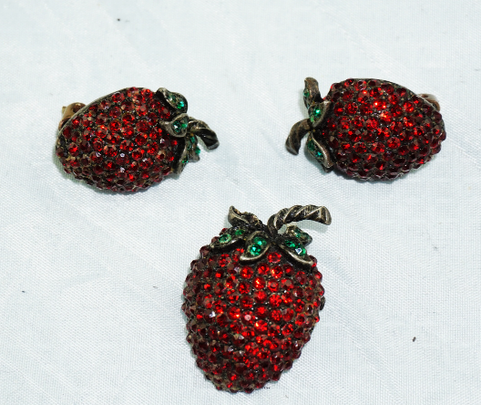 Primary image for Weiss Strawberry Brooch & Clip On Earrings Set, Red Ruby Rhinestones