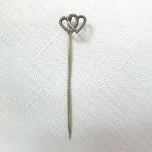 """Vintage Double Heart Brass Stick Pin 2"""" Textured Two Hearts Scarf Lapel Pin - $19.99"""