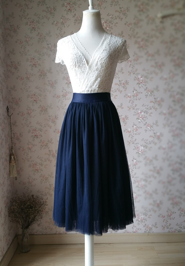 Navy midi tulle skirt 1