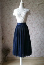 NAVY Midi Tulle Skirt Navy Blue Plus Size Tulle Skirt High Waisted Navy Tutu image 1