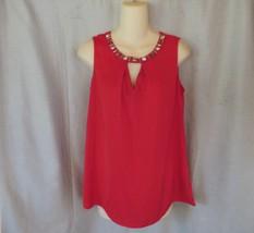 NEW  Worthington  top  M red embellished  beads stones keyhole sleeveless  - $11.71