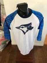 MENS XLarge MLB Baseball Concert Style T-Shirt Toronto Blue Jays Plaid Sleeve - $34.64