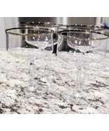 Set Of 4 Lenox Desire Platinum Trim Champagne Sherbet Crystal Glasses - $76.05