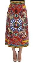 Dolce & Gabbana Red Carretto Print Brocade Crystal Skirt - $3,298.38