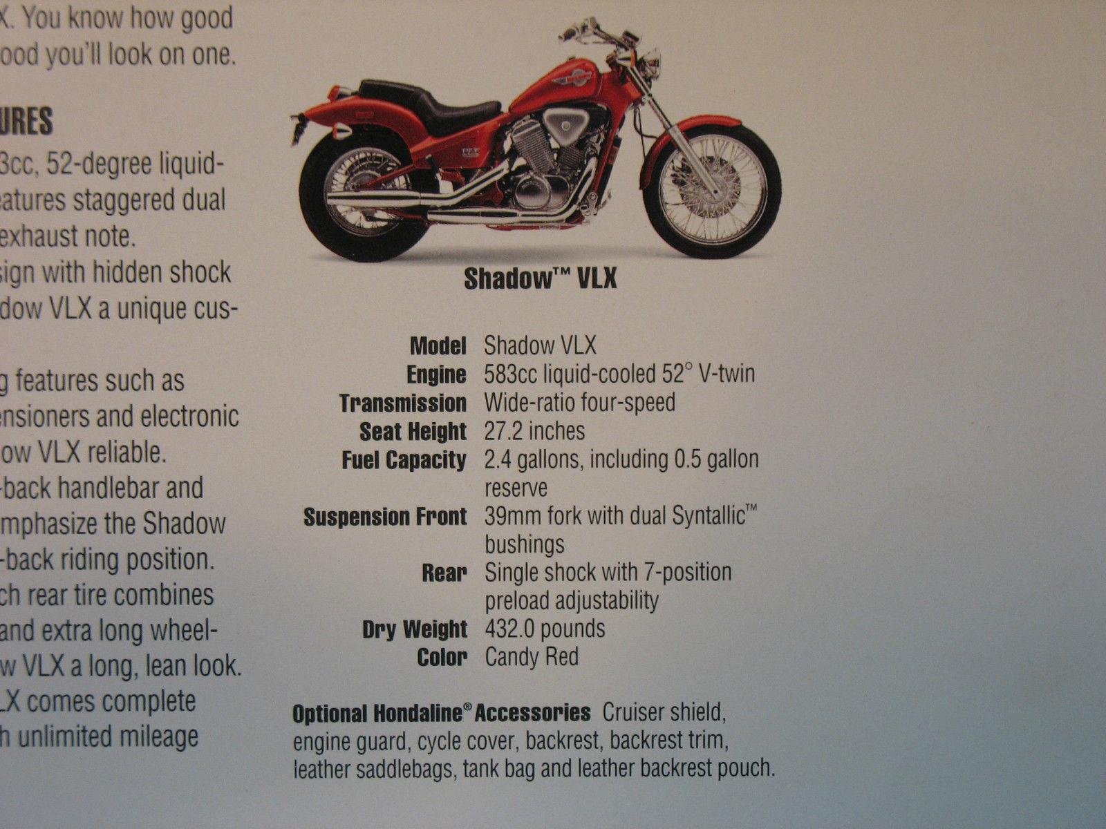 92 Honda Shadow Vlx Nos Oem Dealers Sales And 50 Similar Items 1992 Parts Literature Brochure
