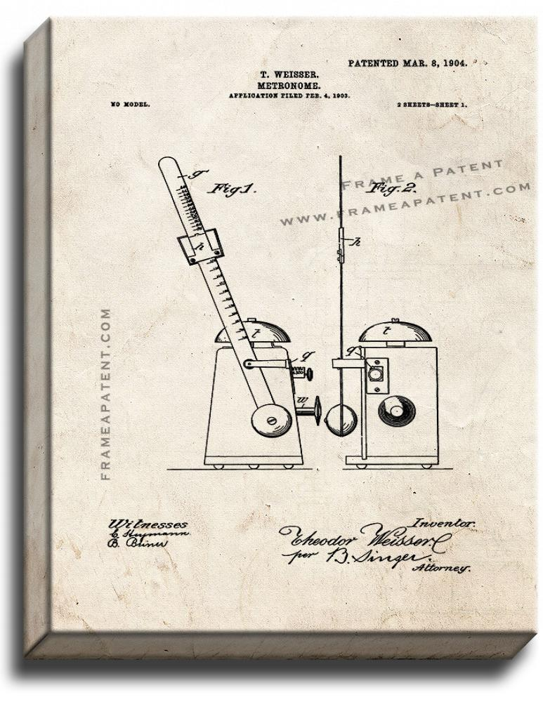 Primary image for Metronome Patent Print Old Look on Canvas