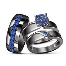 Round Blue Sapphire Engagement Trio Ring Set Wedding Band 10K Black Gold... - $164.98
