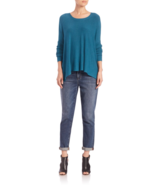 EILEEN FISHER  Crewneck Stretch Box Top SWEATER, SIZE M,Viridian - $45.65