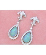 ART DECO 1ctw DIAMOND 3.5ctw OPAL PEAR DROPS FLEUR DE LIS STUD DANGLE EA... - £2,028.08 GBP