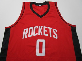 RUSSELL WESTBROOK / AUTOGRAPHED HOUSTON ROCKETS RED CUSTOM JERSEY / COA image 2
