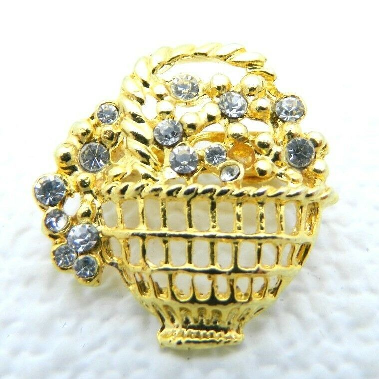 VTG Gold Tone Clear Rhinestone Flower Basket Pin Brooch