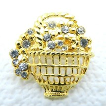 VTG Gold Tone Clear Rhinestone Flower Basket Pin Brooch - $19.80