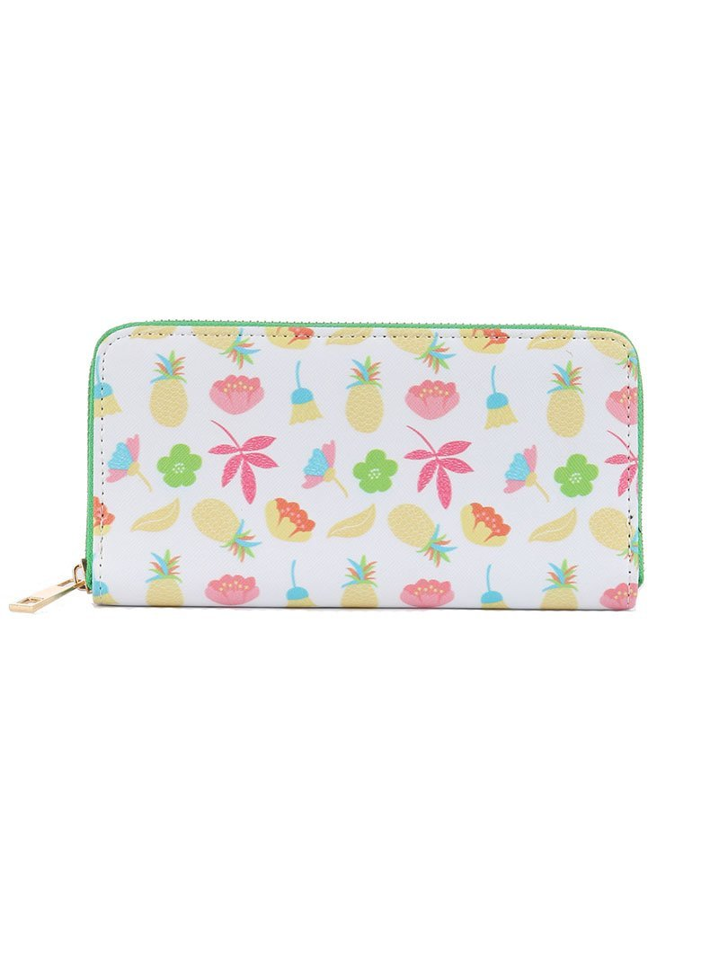Tropical Flower Pineapple Print Zip Around Wallet Clutch Purse