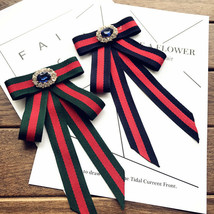 Red Blue Green Vintage Crystal Fashion Ladies Men Pre Tied Bow Brooch Pin - $9.99