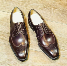 Oxford Men Vintage Burnished Brown Color Leather Wing Tip Lace Up Party ... - $139.90+