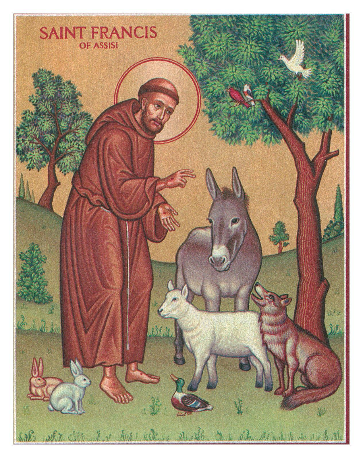 "St. Francis & the Animals Icon - 4.5"" x 6"" Prints With Lumina Gold"