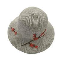 PANDA SUPERSTORE Women Summer Flower Folding Straw Hat Bucket Hat Retro Style Be